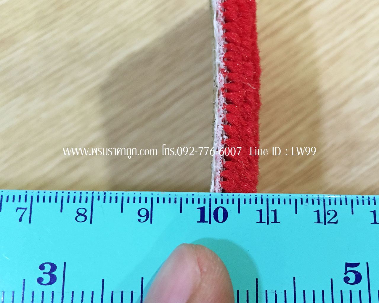 พรมแดงปูพื้นอุโบสถสีแดงสด หนา8มิลลิเมตร